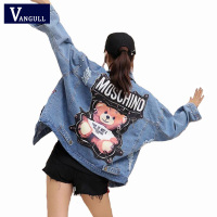 Vangull 2019 New Denim Jacket Women Sequins Pearls Punk Batwing Sleeve Loose Vintage Streetwear Jeans Jackets Coat Ladies Rivet