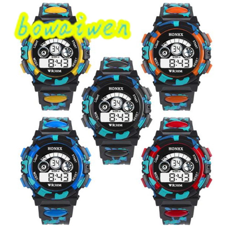 Bowaiwen #0054 Children Watches Outdoor Multifunction Waterproof Kid Child/Boy's Sports Electronic Watches Watch