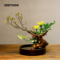 Japanese Flowers Ikebana Hydroponic Flowerpot Tabletop Vases Ceramic Containers Fruit Dish Plate Flower Pot Vintage Home Decor