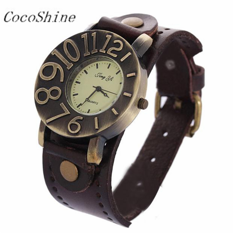 Women Female Wrist Watch Moment Clock Casual Watches Vintage Quartz Analog Punk Watches Gifts Wholesale Dropshipping #20 vintage bronze quartz pocket watch glass bottle antique fob watches classic men women necklace pendant clock with chain gifts