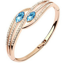 Austrian Crystal jewelry fashion Hand in hand bracelets amp bangles gold-color and silver plated evil eye bracelet femme cheap Women Copper Alloy CN(Origin) TRENDY none 1295 Tension Mount Moon Romantic 4 5*5 5cm