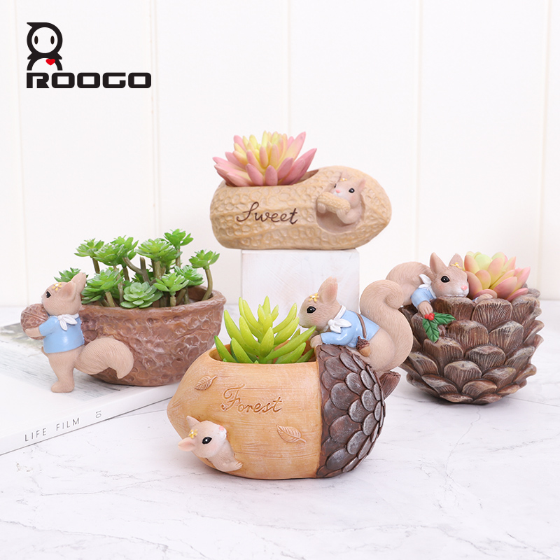 Image 4 - Roogo Nuts House Plant Pot Resin Pots For Flowers Small Succulents Planter Cute Animal Bonsai Pot For Home Garden Decoration-in Flower Pots & Planters from Home & Garden