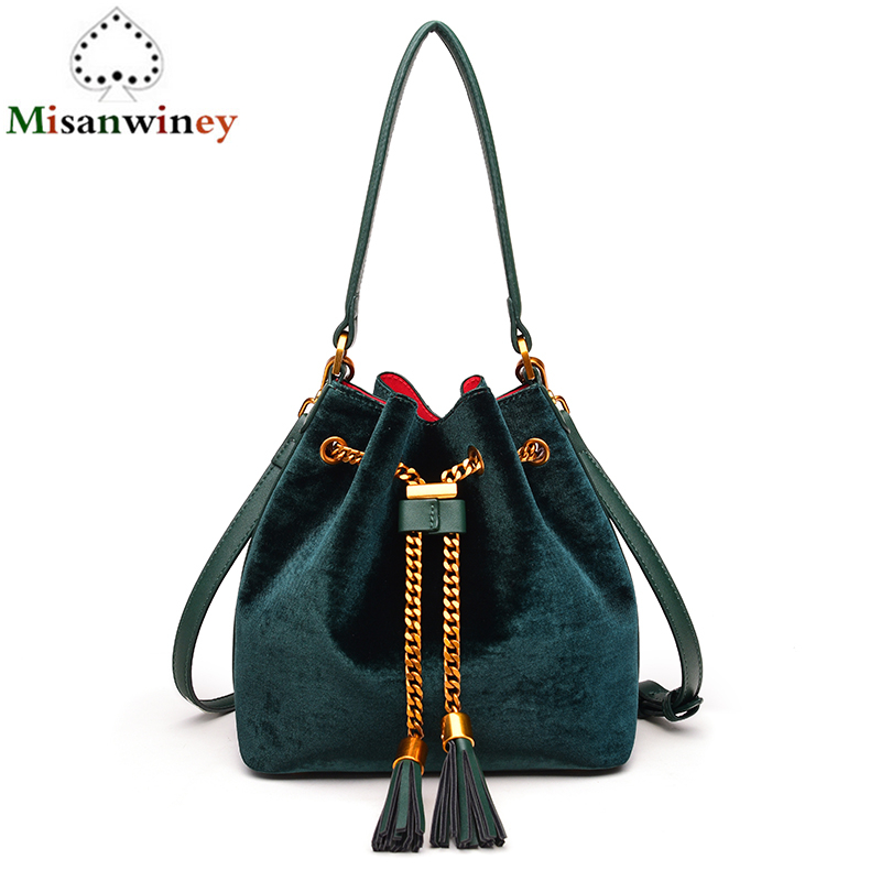 Velvet Shoulder Bag Women Bag Luxury Handbags Designer Brand Ladies Bucket Bags Chain Velvet Crossbody Messenger Bags Sac A Main luxury handbags women bags designer brand famous scrub ladies shoulder bag velvet bag female 2017 sac a main tote