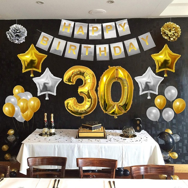 Gold Black Kit Birthday Party Decoration Sets Happy Banner 30 40 50 60 70 80 Years Old Supplies