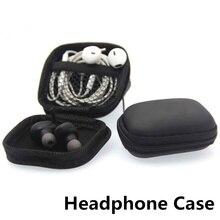 Mini Zipper Disco Headphone Caso PU Acessórios Cabo USB Portátil de Armazenamento Saco de Protecção Fones de Ouvido Fone De Ouvido De Couro Malote da caixa