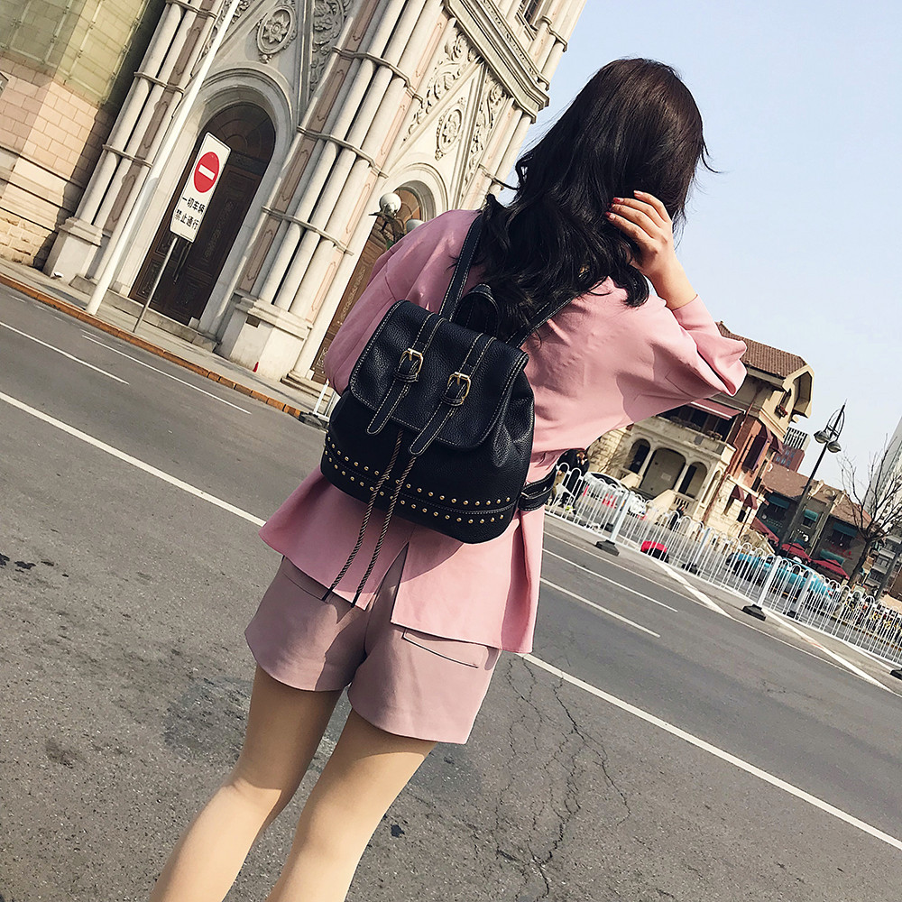 Fashion Women Girl Vintage Backpack Rivet Decoration Travel Rucksack School Bag Popular JUNE2