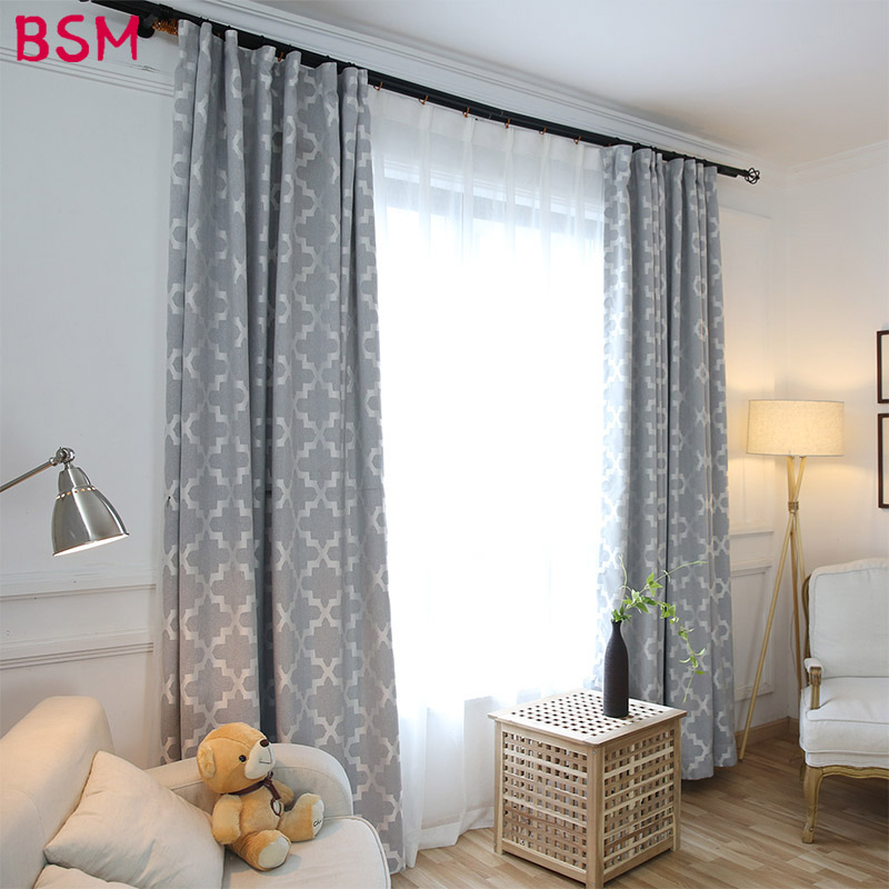 Modern Gray Grey Curtains For Living Room Blackout Curtain Ruffle European Style Black Out Material Nordic Night Roman AWB0005