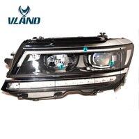 VLAND фабрики для головы лампа для Tiguan светодиодный фар с Ангельские глазки светодиодный DRL H7 ксеноновая лампа для Tiguan 2017 2018 головного света