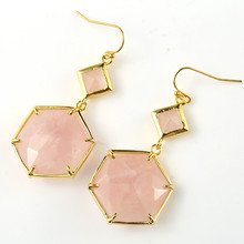 Trendy-beads Light Yellow Gold Color Natural Rose Pink Quartz Hexagon Cabochon Connect Small Rhombus Dangle Earrings For Women