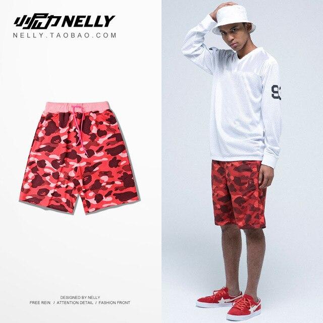 Новая коллекция весна и лето мужчины камуфляж шорты Ретро Красный Метросексуал тонкий шорты Хен молодых мужчин и женщин отдыха пляж