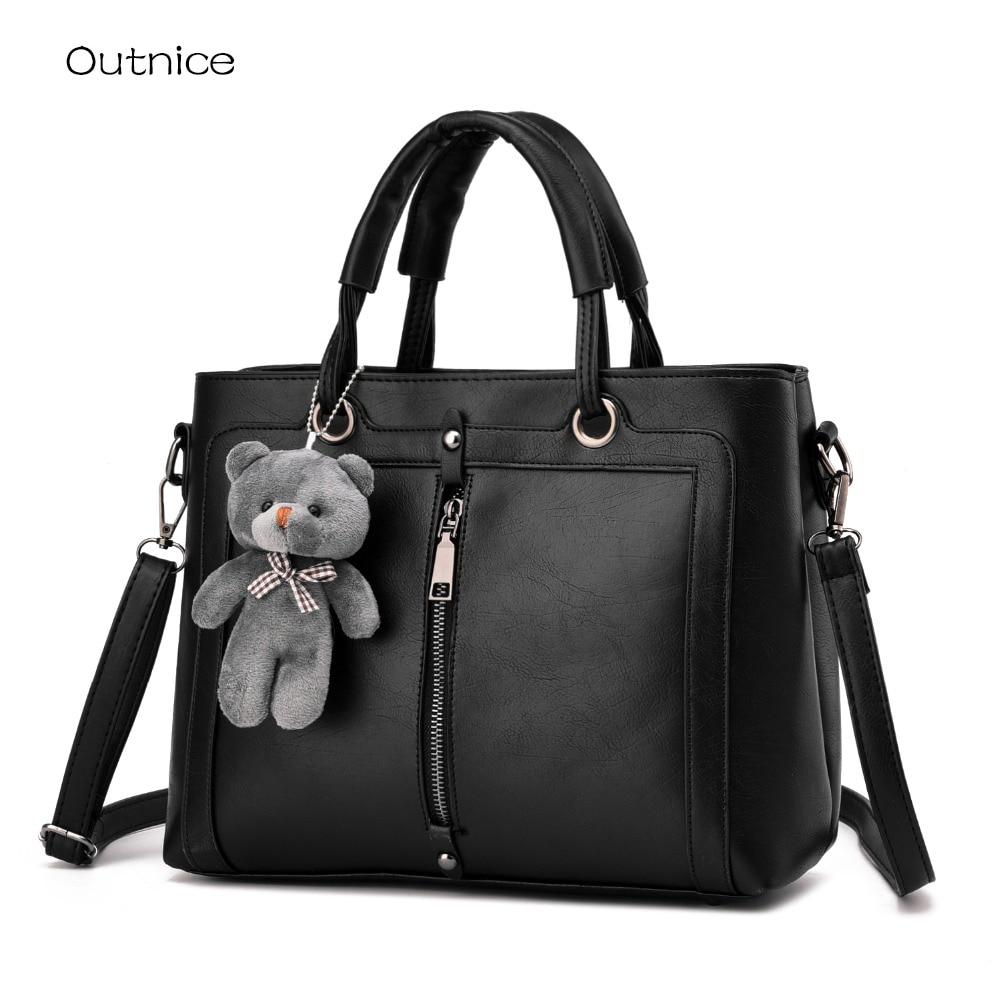 New Fashion Top-handle Bags Handbags Women Famous Brands Shoulder Bag Designer Ladies Hand Bag Fux Leather With Panda Pendant