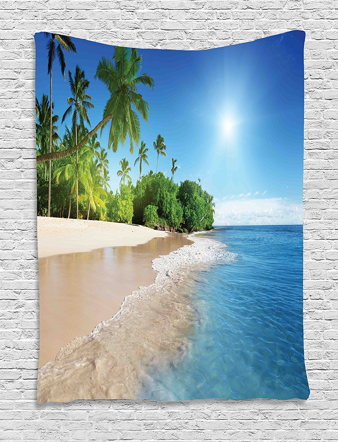 Blue Tapestry Decor Ocean Tropical Palm Trees on Sunny Island Beach Scene Panoramic View Picture for Bedroom