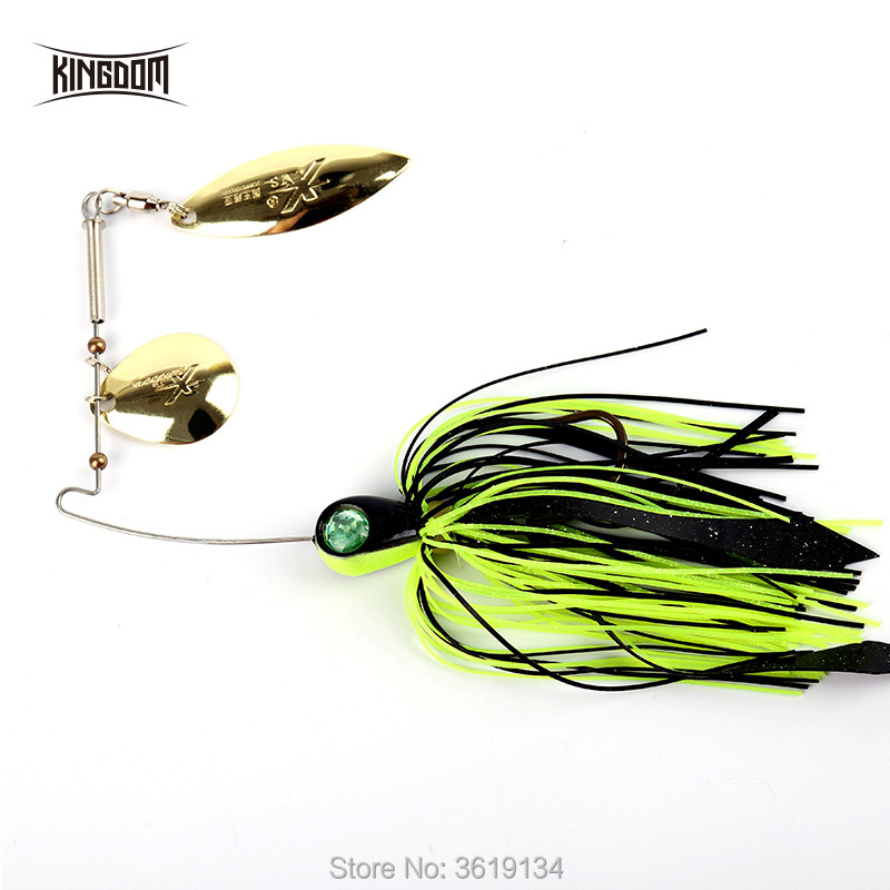 Kingdom Spinner Baits Fishing Lures 1pcs/bag Full Aqueous Layer Double Reflective Golden Metal Spoon Buzzbait  Fishing Tackle