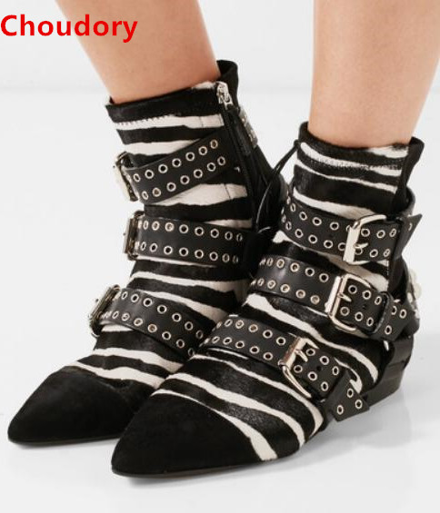 Zebra stripes rivets studded buckles strap flat boots for woman side zipper spring autumn ankle boots woman short boots