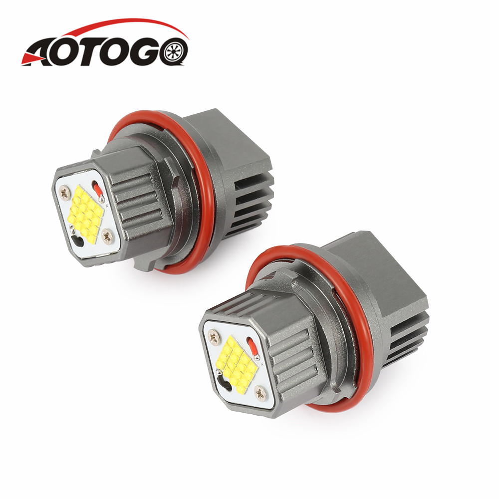 2Pcs Error Free LED Angel Eyes Marker Lights Bulbs For BMW E39 E83 E60 E61 E53 E64 E65 E66 LED Angel Eyes White Fog lights in Car Light Assembly from Automobiles Motorcycles
