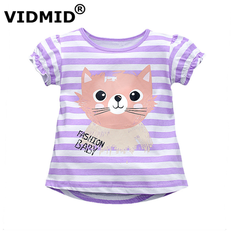 VIDMID New good Quality Cotton Baby Girls t-shirt Short Sleeve Kids Clothes Summer Tee T-Shirt Baby Girls Clothing Outerwear