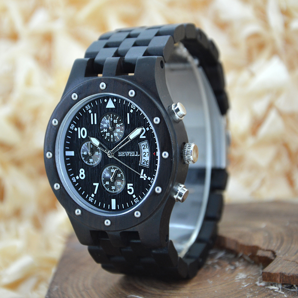 ФОТО  BEWELL black friday Multifunction Sport Watch Display Date Stopwatch  Men Quartz Wood Watch Three Dials with Paper Box 109D