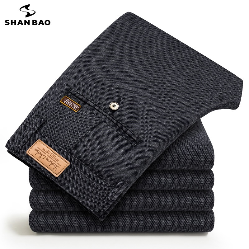 SHANBAO 2019 Autumn Winter New Elegant Wild Cotton Business Casual Pants Fashion Stickers Brand Men's Slim Trousers Gray Blue