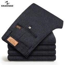 SHANBAO 2019 herfst winter nieuwe elegante wilde katoen business casual broek mode stickers merk mannen slanke broek grijs blauw