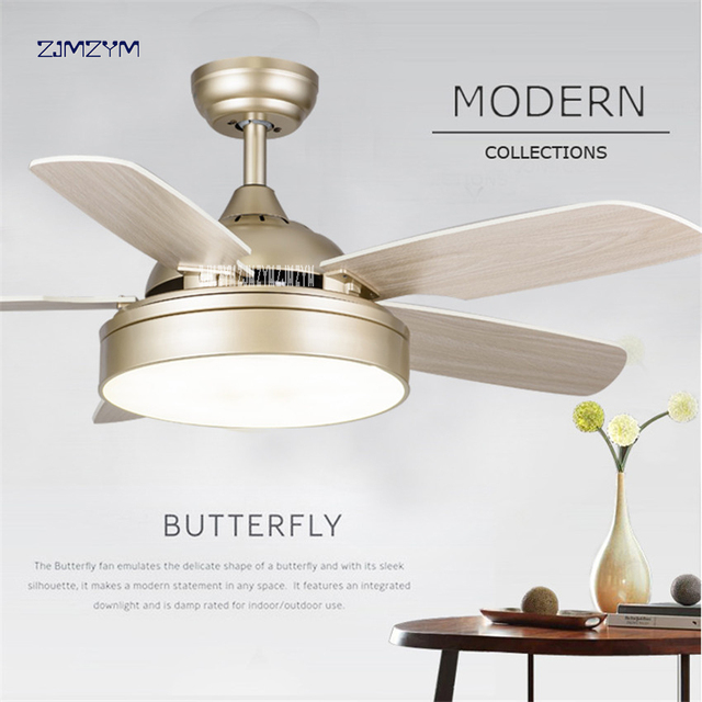 52 Inch Led Ceiling Fans With Lights Minimalist Dining Living Room Fan Remote Control