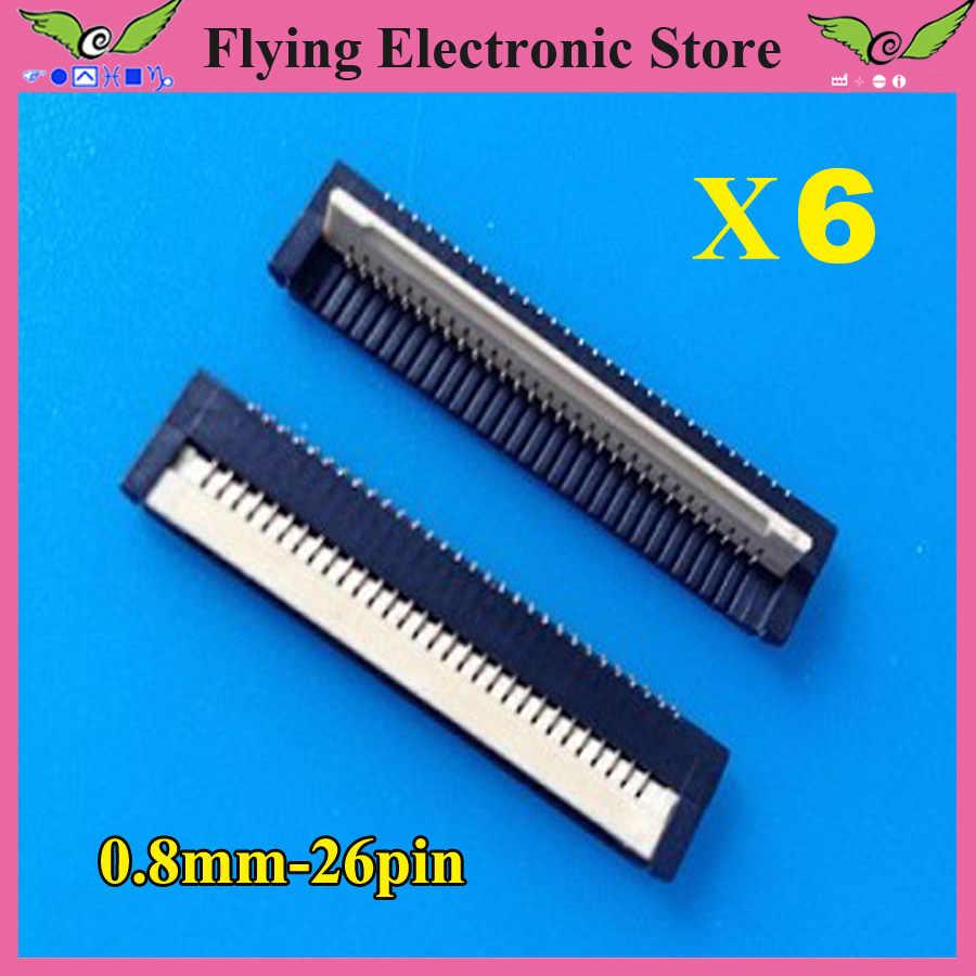 6 unids/lote FPC cable plano conector toma 26pin 0,8mm paso para interfaz de teclado de ordenador portátil