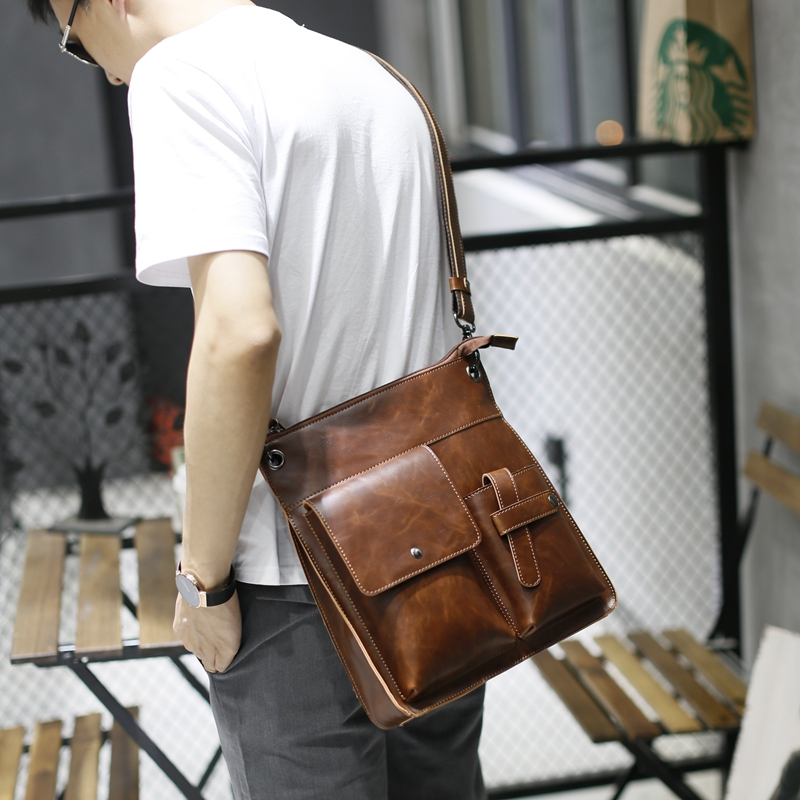 Vintage Crazy Horse PU Leather Men Bags Hot Sale Male Messenger Bag Man Fashion Crossbody Shoulder Bag Men's Travel New 2017 Bag men travel bags crazy horse cow skin real leather man bags fashion design men shoulder bags