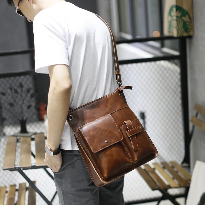 Vintage Crazy Horse PU Leather Men Bags Hot Sale Male Messenger Bag Man Fashion Crossbody Shoulder