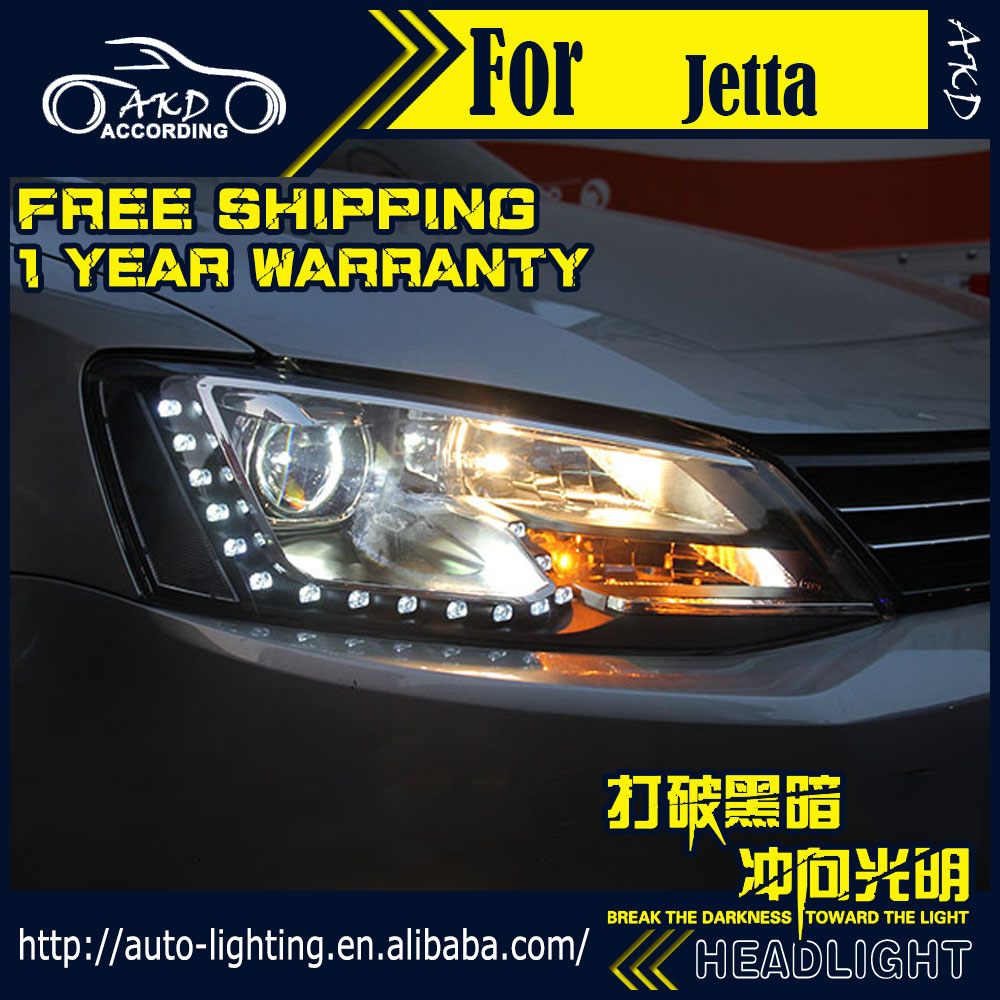 Akd car styling headlight assembly for vw jetta mk6 gli headlights bi xenon led headlight led