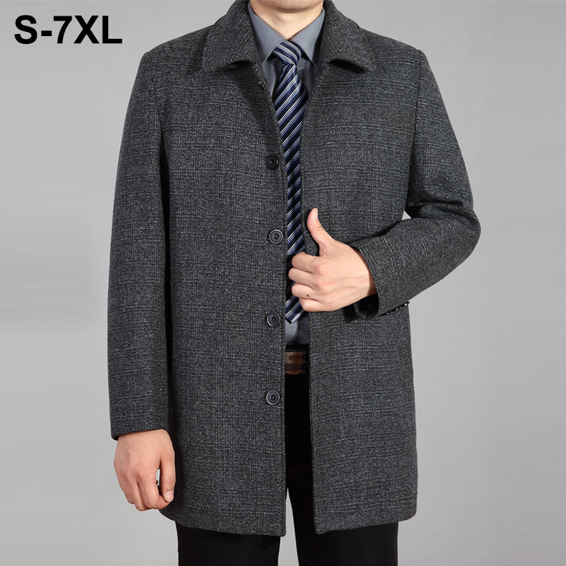 2019 New Men Woolen Coat Autumn Winter Overcoat Wool Long Mens Peacoat Jacket For Plus Size 7XL