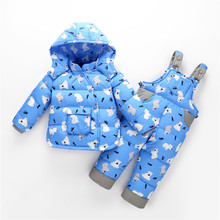 29KEIZ Children Down Coat Set Cartoon Polar Bear Girls Baby Winter Down Jacket Warm Snowsuits Thicken Coat & Suspender Pants