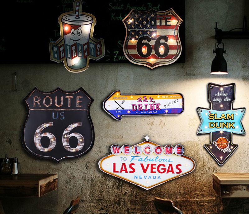 American Retro Wall Mural Cafe Bar Wall Pendant Lamp LED Coffee Bar Lights Decoration Accessories Vintage Tin Sign Home DecorAmerican Retro Wall Mural Cafe Bar Wall Pendant Lamp LED Coffee Bar Lights Decoration Accessories Vintage Tin Sign Home Decor