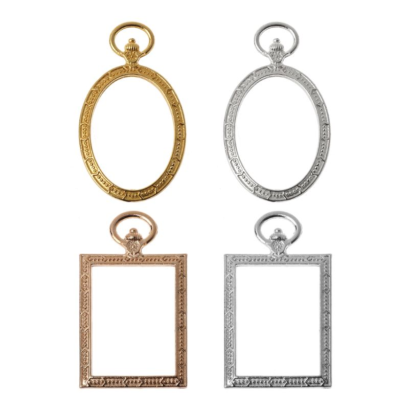 5 Pcs / Lot Round Metal Pocket Watch Gold Frame Pendant Charm Frame Fit Cabochon Set UV Resin Charms
