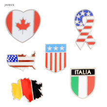 New Jewelry Pin Brooch American Italy Canada Flags Enamel Brooch Patriotism Lapel Pins Fashion Jewelry Accessories(China)