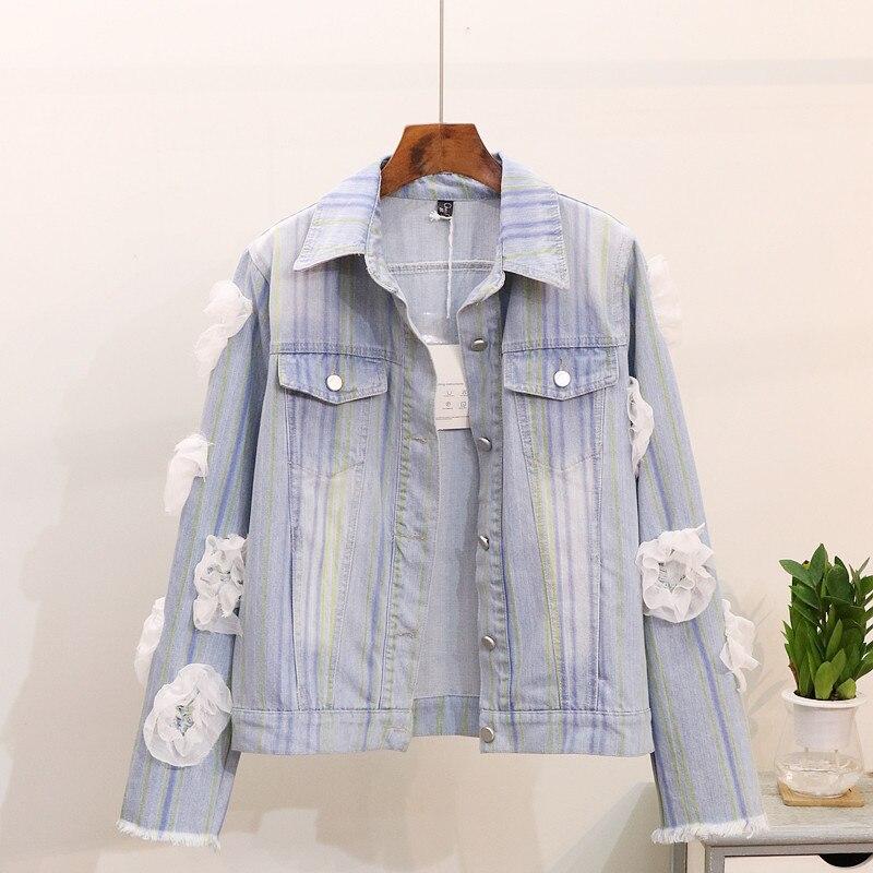 Veste Automne 2018 Spliced Lâche Arc Manteau De Pu Denim Outwear Jeans Dentelle camellia Femmes Casual en Ciel Nouveau Étudiants Femme f5wq56