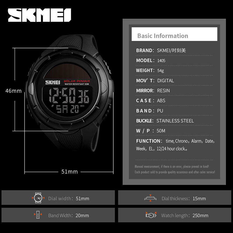Men's Watches Watches Skmei Sport Luz Solar Men Fashion Reloj Digital Hombre Wtaches Waterproof Tops Analog Watch With Date Alarm Chronograph Relogio Goods Of Every Description Are Available
