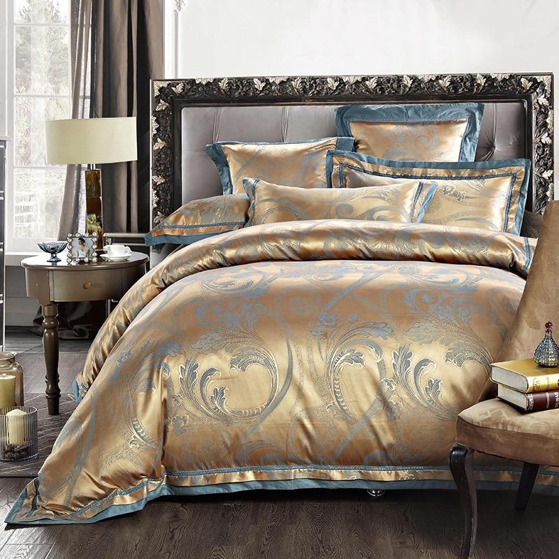 Hot Luxury Cotton Satin Jacquard Bedding Sets Purple