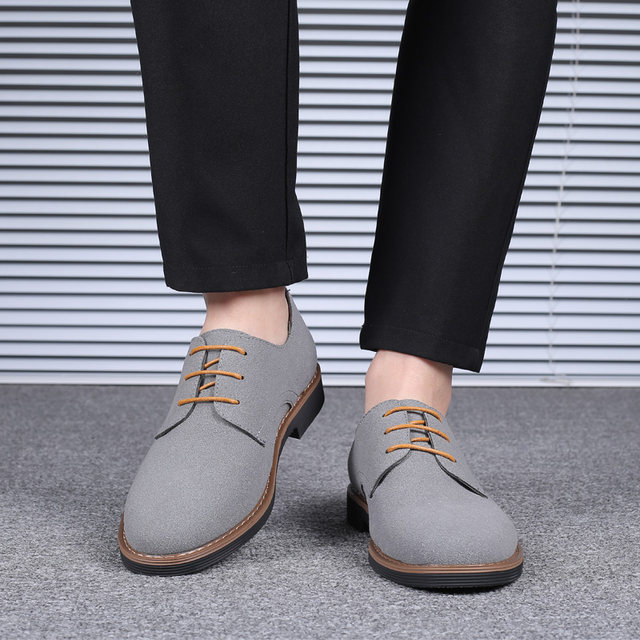 2019 High Quality Suede Leather Soft Shoes Men Loafers Oxfords Casual Male Formal Shoes Spring Lace-Up Style Men's Shoes 23