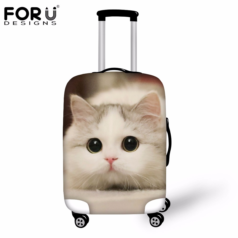 FORUDESIGNS Cute 3D Animal Cat Luggage Protective Cover For 18''-30'' Suitcase Case Waterproof Rain Cover Travel Accessories