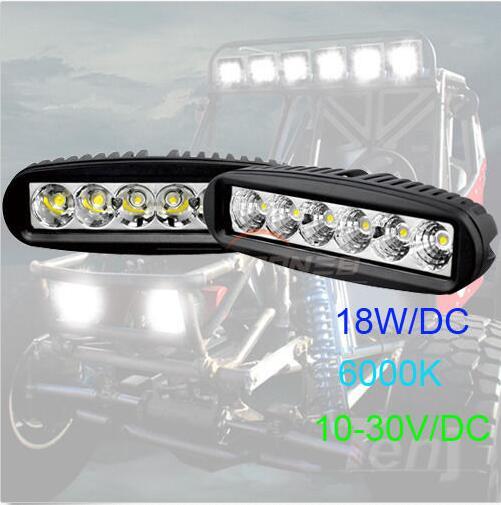 Fuchutech 2pcs 6 inch 18W LED Work Light Bar Lamp for Driving Truck Trailer Motorcycle SUV