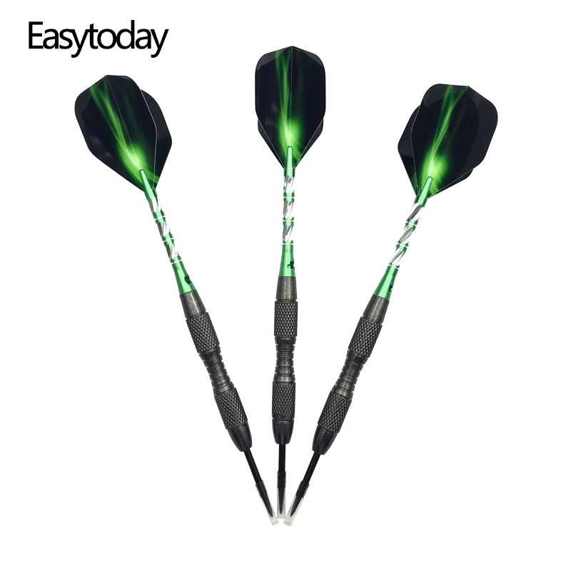 Easytoday 3Pcs/set Standard Steel Tip Darts Professional Hard Type Tungsten Set Aluminum Green Shafts Flights Games