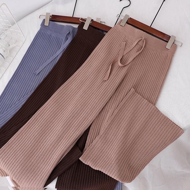 2018 Autumn Winter Women Long Trousers Elastic High Waist Knitted   Pants   Female   Wide     Leg     Pants   Loose Casual   Pants   Plus Size A1182
