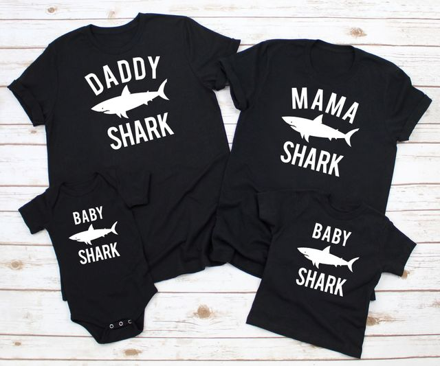 Matching Outfits Romper T-Shirts Shark Family Baby-Girl Boys Kids Son Summer Dad Senior