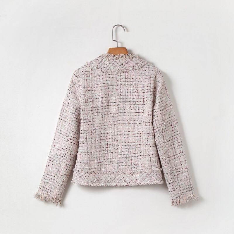 Gland Office Hiver Haute Couture Élégant Haut 2018 Manteau Perle Veste Automne Chan Beige Lady Gamme Vintage Tweed Classique De q88PxCg