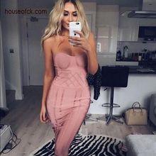 2017 frühling rosa bandage dress trägerlosen kurzen dress frauen cocktail party kleider vestidos