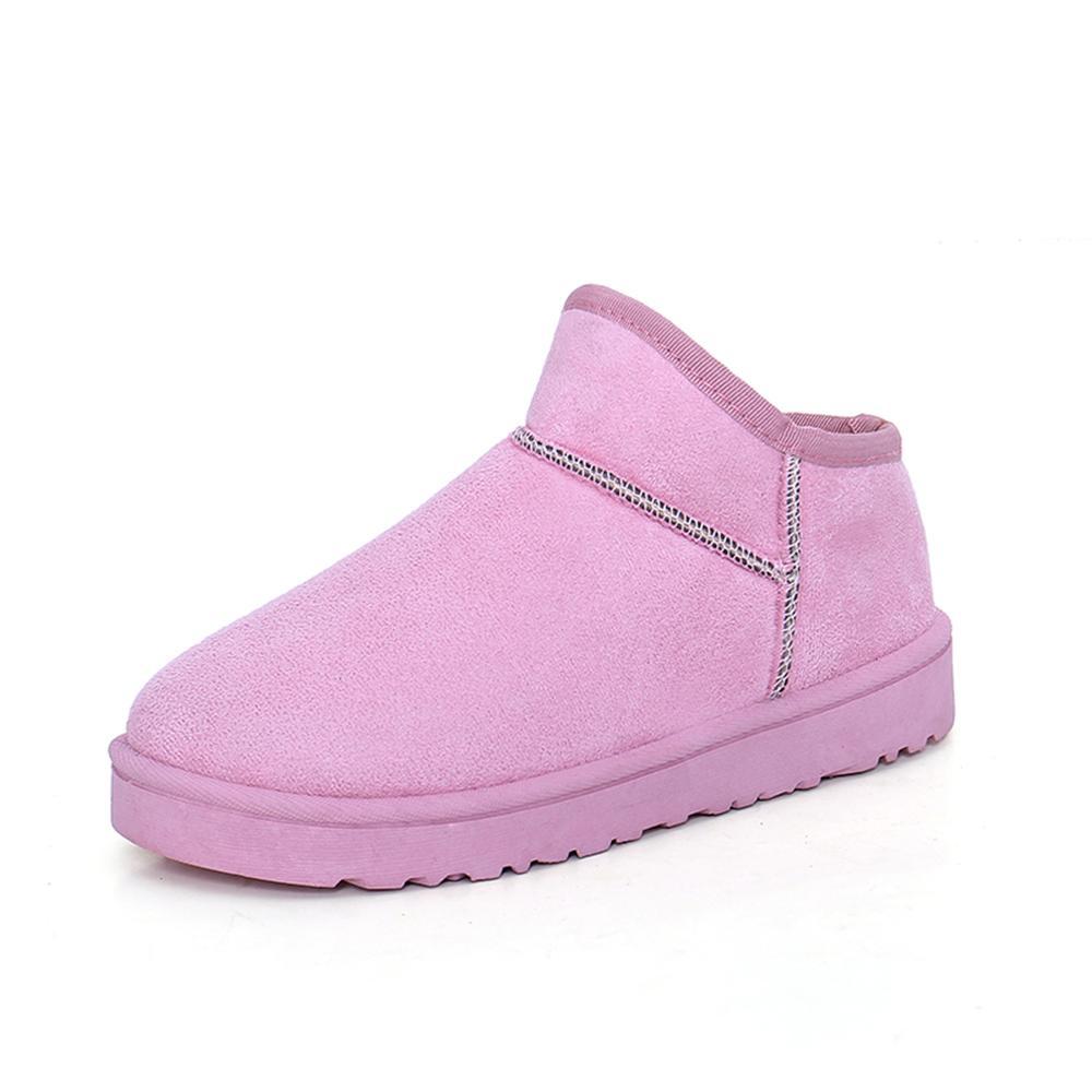 Mujeres Zapatos Femme Pisos De En Piel Black gray Botas Felpa 2018 Chuteira brown Deslizamiento purple pink Mujer Botte Cortas Al Libre Invierno Botines Señoras Caliente Aire W0RIwwq