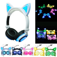 Fashion Cat Ear Headphones LED Ear Headphone Cats Earphone Flashing Glowing Headset Gaming Earphones Gifts For
