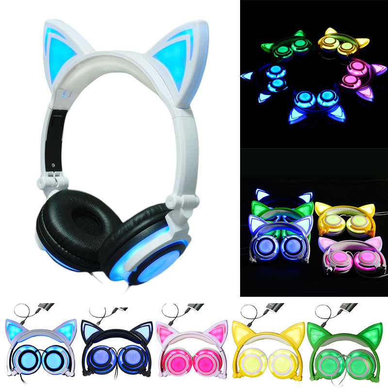 Fashion Cat Ear headphones LED Ear Headphone Cats Earphone Flashing Glowing Headset Gaming Earphones Gifts For Adult Child Girls