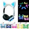 Fashion Cat Ear Headphones LED Ear Headphone Cats Earphone Flashing Glowing Headset Gaming Earphones Gifts For