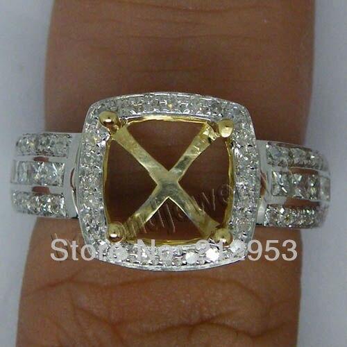 Винтажная Подушка 8x8 мм твердое 14kt двухцветное Золотое таможенное кольцо R00344