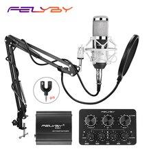 Лидер продаж! Профессиональный конденсаторный микрофон FELYBY bm 800 для записи, набор для компьютера с фантомным питанием и многофункциональной звуковой картой